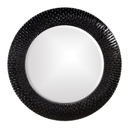Howard Elliott - Bergman Glossy Black Round Mirror - This round, resin mirror is painted in a glossy black, giving the piece textured, starburst effect.
