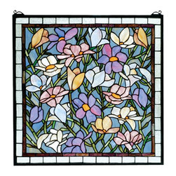 Meyda Tiffany - Meyda Tiffany Sugar Magnolia Stained Glass Window X-87266 - Lighter pastel tones create a shabby chic appearance to this Meyda Tiffany stained glass window. From the Sugar Magnolia Collection, the magnolia flowers are dancing in a sea of blue-green. The shades of mauve, lavender, soft pink and yellow stand out, while light trim pulls the look together.