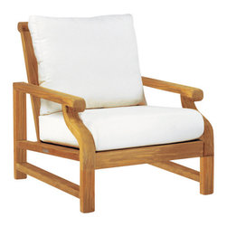 """Nantucket Lounge Chair - By Kingsley Bate - The NANTUCKET lounge chair is expertly crafted using the world's finest teak, coupled with the strength of mortice and tenon joinery. Bring the comfort of your living room outdoors with the combination of weather resistant teak and Sunbrella® fabric. The lounge chair is both constructed with 25"""" wide and 6"""" thick exceptionally comfortable cushions that will last outdoors without mildew, and minimal discoloration. We will gladly use the fabric of your choice for indoor use."""