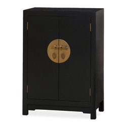 China Furniture and Arts - Elmwood 2-Door Ming Cabinet - The simple clean lines of this Elmwood this Ming chest reflect the design principle of the Ming Dynasty. Two removable shelves behind the doors can be used to store CDs, books or linens. Muted hand forged brassware adds to the subtle beauty of the quiet black finish. Fully assembled.