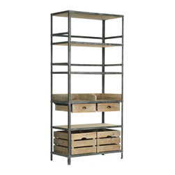 """Zentique - Zentique Arley Rack - Industrial style meets rustic flair on the Zentique Arley rack. An antiqued metal frame supports this bookcase's recycled wood shelves and drawers for bold and alluring storage. 39.5""""W x 20""""D x 86.5""""H; Weathered gray recycled wood; Antiqued iron; Two removable crates; Two glide drawers with metal pulls; Four shelves"""