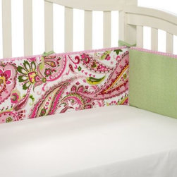 My Baby Sam - My Baby Sam Paisley Splash Crib Bumper in Pink - Colorful paisley print in lime and bright pink colors make this set so colorful and chic! Bumper is piped with pink polka dot fabric.