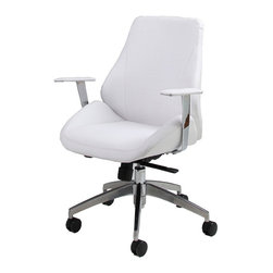 Pastel - Adjustable Office Chair in Ivory - The Isobella office chair is beautifully crafted chair that works in any and every office space. This chair will brighten any room and features executive styling that will be ideal in modern, open spaces.