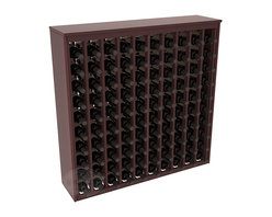 100 Bottle Deluxe Wine Rack in Redwood with Walnut Stain + Satin Finish - This wooden wine rack functions well as either a freestanding wine rack furniture or as part of a complete wine cellar design. Solid top and side enclosures promote the cool and dark storage area necessary for aging your wine properly. Your satisfaction and our racks are guaranteed.