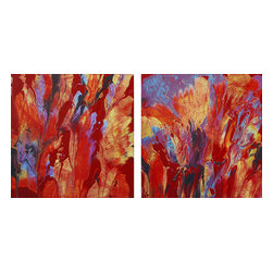ecofirstart - Red Hot Diptych - Red hots! Artwork with a purpose, this ecofriendly original diptych is made entirely of leftover acrylic latex paint from recycling centers in L.A. before it is sent to a landfill. You can feel good knowing that your new piece of modern art is also easy on the environment.