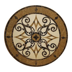 Medallions Plus - Waterjet Polished Floor Medallions Tile Medallion Marble  Inlay, 24 Inches - Item Description