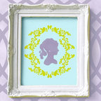 Clair Cameo Bari J Wall Stencil - Lovely Clair! The Clair Cameo Stencil from Royal Design Studio is a wall art stencil exclusive from the Bari J Stencil Collection. This simple three-part stencil can be used to create a charming cameo surrounded by a lovely frame for an original stenciled wall treatment, or on the front of a furniture piece. Use the Clair Cameo stencil alone on pillows or other craft projects.