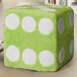 "Monarch - Green Fuzzy Dice Ottoman - Liven up your living area or bedroom with this cool contemporary dice ottoman that will be a stylish and fun addition to your home. Covered in a green fuzzy material, this piece is a comfortable spot to sit or rest your feet. Perfect for your child's bedroom, this piece is a must-have.; No assembly required; Weight: 7 lbs; Dimensions: 15.5""L x 15.5""W x 17""H"