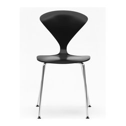 Cherner - Cherner Stool with Chrome Metal Base - The Cherner Stool with Chrome Metal Base has the classic shape we've come to love about Norman Cherner's molded plywood seating. This mid-century dining stool is available as a counter stool or barstool, with optional seat pad. Made in the USA in a number of finishes.
