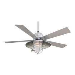 Minka Aire - Minka Aire F582-GL Rainman Ceiling Fan - Transitional Ceiling Fan in Galvanized with Acid Etched glass from the Rainman Collection by Minka Aire.