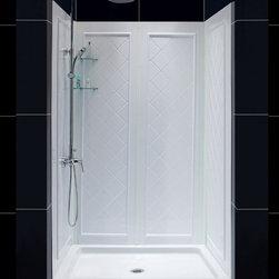 """DreamLine - DreamLine DL-6107C-01CL Infinity-Z Shower Door, Base & Backwalls - DreamLine Infinity-Z Frameless Sliding Shower Door, 36"""" by 48"""" Single Threshold Shower Base and QWALL-5 Shower Backwall Kit"""