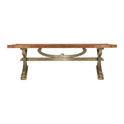Matteo Coffee Table - Urban Home Matteo Coffee Table made of Reclaimed Ashwood. Inspired by the french countryside. Features a distressed top and a unique wooden base that resembles weathered iron