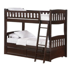 Cinnamon Twin over Twin Bunk Bed - The handsome Cinnamon Twin-over-Twin Bunk Bed is sure to be a big hit with your children. Its arches and curves along with its stylish corbels on the leg-posts make it a delightful fixture for any kid's room. A blend of comfort style and quality this bunk bed comes in a selection of beautiful finishes. Includes safety rails ladder and slat pack. Pair with the optional trundle or storage drawer set for additional convenience. This bunk bed has a weight capacity of 250 lbs on top and bottom bunk. Please note: CPSC recommends the tops of the guardrails must be no less than 5 inches above the top of the mattress and that top bunks not be used for children under 6 years of age.