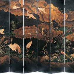 "Inviting Home - Japanese Style Folding Screen with Cranes - Japanese style wooden folding screen with hand-painted cranes and river motif overall - 108""W x 84""H each panel - 18""W This eight-panel folding screen is made from wood and hand-painted in Japanese style. The back of this decorative folding screen is hand-finished in antiqued crackled black. In opposite from Chinese folding screens the Japanese style screens do not have elaborate borders and ornamentation. This folding screen with Japanese design has one large composition that is flows from one panel to the next. Hand-painted design features seven graceful cranes and a river scene with clouds blooming plum tree and bamboo grass. Cranes are among the prime symbols of longevity and good fortune in Japan. For at least two millennia the Japanese have viewed them as living to great ages and being able to navigate between heaven and earth. In Japan the crane is the bird most frequently seen in fine and applied arts. Also cranes are the common subject of painted on folding screens; it is most closely associated with new beginnings and wedding ceremonies. Clouds are taking a big part of the screen's composition. In Japanese art clouds are among the most extensively used components of a composition therefore they rarely convey a since of weather and most often are painted on a folding screens in stylized form as a contextual background."