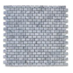 "Stone Center Corp - Carrara Marble Mini Brick Mosaic Tile 5/8x3/4 Polished - Carrara white marble 5/8"" x 3/4"" brick pieces mounted on 12"" x 12"" sturdy mesh tile sheet"