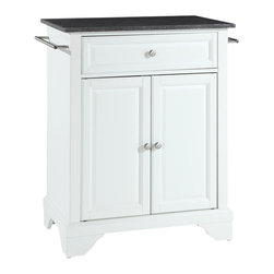Crosley - LaFayette Solid Black Granite Top Portable Kitchen Island in White Finish - Constructed of solid hardwood and wood veneers, this kitchen island is designed for longevity. The beautiful raised panel doors and drawer front provide the ultimate in style to dress up your kitchen. The deep drawer are great for anything from utensils to storage containers. Behind the two doors, you will find an adjustable shelf and an abundance of storage space for things that you prefer to be out of sight. Style, function, and quality make this kitchen island a wise addition to your home.