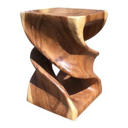 Asian Art Imports - Double Twist Stool - This variation on our popular twist stool has a double twist. It's made with acacia wood, prized for its wood quality, and can function as a stool, stand, or end table. Each piece has its own unique contrasting wood tones.