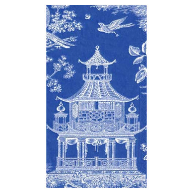 Blue Chinoiserie Toile Pagoda Paper Guest Towels - This is the perfect napkin for setting a blue and white chinoiserie table! And it's paper, so toss it as you clear the dishes. I personally prefer opting for the guest towel size for dinner napkins; the long rectangular shape looks just right in the middle of a dinner plate.