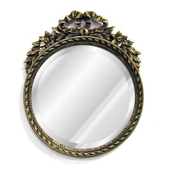 Hickory Manor House - 16 in. Dia. Bow Beveled Mirror in Gilt Silver - Vintage original. Custom made by artisans unfortunately no returns allowed. Enhance your decor with this graceful mirror. Made in the USA. Made of pecan shell resin. 16 in. Dia. (6 lbs.)