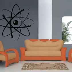 StickONmania - Atom Sticker - A cool science atom design for your wall. Decorate your home with original vinyl decals made to order in our shop located in the USA. We only use the best equipment and materials to guarantee the everlasting quality of each vinyl sticker. Our original wall art design stickers are easy to apply on most flat surfaces, including slightly textured walls, windows, mirrors, or any smooth surface. Some wall decals may come in multiple pieces due to the size of the design, different sizes of most of our vinyl stickers are available, please message us for a quote. Interior wall decor stickers come with a MATTE finish that is easier to remove from painted surfaces but Exterior stickers for cars,  bathrooms and refrigerators come with a stickier GLOSSY finish that can also be used for exterior purposes. We DO NOT recommend using glossy finish stickers on walls. All of our Vinyl wall decals are removable but not re-positionable, simply peel and stick, no glue or chemicals needed. Our decals always come with instructions and if you order from Houzz we will always add a small thank you gift.
