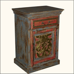 Coat of Arms Red & Grey Night Stand End Table Reclaimed Wood Furniture -