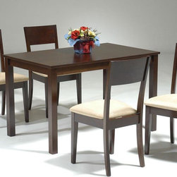 Elegant Wood and Microfiber Seats Dining Room Furniture - Walnut small dining set with four chairs.