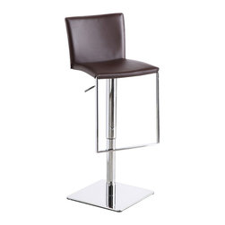 J&M Furniture - Brown Leather C-183B-3 Barstool - C-183B-3 Brown Leather Barstool by M Furniture gives extreme comfort while it is ideal for contemporary homes. It swivels 360 degrees and has a hydraulic adjustable seat. Its solid stainless steel base makes it durable enough for use in any situation. Its hydraulic height adjustment emphasizes its quality.
