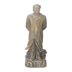 "Golden Lotus - Chinese Ceramic Chairman Mao Standing Figure - Dimensions:   7""x  5""x  h19"""