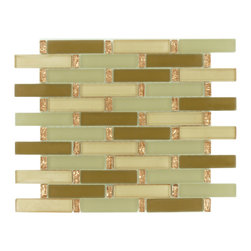 """Euro Glass - Peach Field 1"""" x 4"""" Bronze/Copper Kitchen Glossy and Frosted Glass - Sheet size: 11 3/4"""" x 13 1/4"""""""