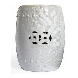 'White Blossom' Garden Seat - This ceramic garden stool has a pearlescent texture with the slightest hint of a blossom pattern.