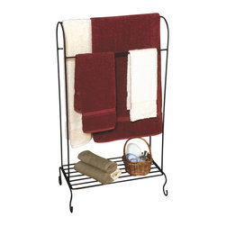 J&J Wire - Quilt Holder w Shelf - Towels and accessories not included. Bottom shelf for storage or display. Durable construction. Welded fabrication. Three bars to display quilts and towels. Versatile free-standing stylish design. Made from sturdy wrought iron. Rich black powder-coat finish. Made in USA. No assembly required. 22 in. W x 14 in. D x 39 in. H (10 lbs.)Design to showcase three of your treasured family quilts. Also suitable for your favorite bathroom towels. Bottom shelf works well for storage or display. Sturdy wrought iron cured under heat to produce a hard durable rich black finish.