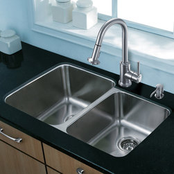 """Vigo - All in One 32"""" Undermount Stainless Steel Kitchen Sink and Faucet Set - Modernize the look of your entire kitchen with a VIGO All in One Kitchen Set featuring a 32"""" Undermount sink, faucet, soap dispenser, matching bottom grids and strainers.; The VG3221L double bowl sink is manufactured with 18 gauge premium 304 Series stainless steel construction with commercial grade premium satin finish; Fully undercoated and padded with a unique multi layer sound eliminating technology, which also prevents condensation.; All VIGO kitchen sinks are warranted against rust; Exterior Measures: 32""""W x 20 3/4""""D; Larger bowl's interior dimension: 15 3/4""""W x 18 3/4""""D; Smaller bowl's interior dimension: 13""""W x 16 1/2""""D; Bowl depth: 9"""" (larger bowl) and 7"""" (smaller bowl); Required interior cabinet space: 34""""; Kitchen sink is cUPC and NSF-61 certified by IAPMO; All mounting hardware and cutout template provided for 1/8"""" reveal or flush installation; The VG02012ST kitchen faucet features a dual function pull-out spray head for aerated flow or powerful spray, and is made of solid brass with a stainless steel finish; Includes a spray face that resists mineral buildup and is easy-to-clean; High-quality ceramic disc cartridge; Retractable 360-degree swivel spout expandable up to 30""""; Single lever water and temperature control; All mounting hardware and hot/cold waterlines are included; Water pressure tested for industry standard, 2.2 GPM Flow Rate; Standard US plumbing 3/8"""" connections; Faucet height: 16 3/4""""; Spout reach: 8 7/8""""; Kitchen faucet is cUPC, NSF-61, and AB1953 certified by IAPMO; Faucet is ADA Compliant; 2-hole installation with soap dispenser; VGSD001ST soap dispenser is constructed of solid brass with a stainless steel finish and fits 1 1/2"""" opening with a 3 1/2"""" spout projection.; Matching bottom grids are chrome-plated stainless steel with vinyl feet and protective bumpers.; Sink strainers are made of durable solid brass in chrome finish; All VIGO kitchen sinks and fauc"""