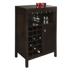 Sunpan Imports - Philmore Wine Bar in Dark Espresso Finish - Elegant service sometimes comes in compact cabinetry. The Philmore wine bar offers a sophisticated espresso finish that highlights the contemporary profile. Wine cubbies are situated by a side door with open shelving above for glassware that incorporates a hanging rack. Shelf for glasses. Cabinet for storage. No. of Shelves in Cabinet: 1 (Adjustable). Tempered black glass top. Made for compact spaces. Holds up to 18 wine bottles. Made from birch wood and veneer. Assembly required. 24.5 in. W x 16 in. D x 41.5 in. H. Interior Door Cabinet: 11 in. W x 14.5 in. D x 22 in. H