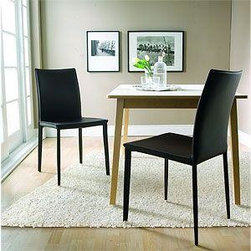 Black Leather Enzo Chairs - Set of 5 - Set of 5 beautiful black leather chairs.  A simple and elegant design is perfect in any environment.  The chairs are in perfect condition.