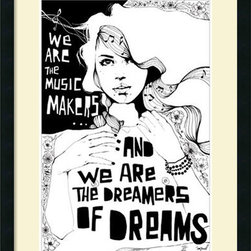 Amanti Art - Manuel Rebollo 'Music Makers' Framed Art Print 23 x 30-inch - \'We are the music makers, and we are the dreamers of dreams.\' Let your walls ring with these self evident truths!