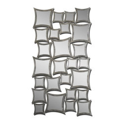 Uttermost - Uttermost 07628  Rigel Silver Leaf Mirror - This unusual mirror features numerous, separately framed mirrors all attached to create one. frames have a lightly antiqued silver leaf finish. may be hung either horizontal or vertical.