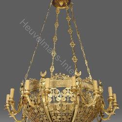 Shangri-La lobby Paris - Heuvelmans Interiors gilt bronze chandelier ref.CHAND.907