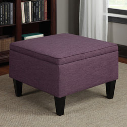 PORTFOLIO - Portfolio Engle Amethyst Purple Linen Table Storage Ottoman - The Portfolio Engle storage ottoman features a flip over cushioned seat that converts to a table top. The Engle Ottoman is covered in a durable amethyst purple linen-like fabric.
