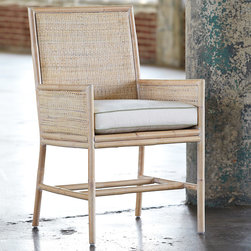 Palu Ltd - Palu Fenwick Chair - The Palu Fenwick chair complements mod interiors with a simple design. Eclectic natural rattan weaving enriches the seat's clean-lined frame for textured intrigue. 21.5��_W x 23��_D x 20��_SH x 24��_AH x 36��_H; White cotton cushion with insert included