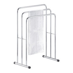 Taymor Industries USA - Taymor Chrome Floor Three Tier Curved Towel Valet Multicolor - 01-1086 - Shop for Bath Accessories from Hayneedle.com! About Taymor Industries Inc Established in 1948 to create quality products unbeatable value and premier customer service Taymor Industries Inc. continues their tradition today under a team of industry professionals who are dedicated to bringing the best designs and quality in bath accessories and residential/commercial security hardware. With distribution centers in Arizona and Atlanta Taymor Industries can ensure a fast turnaround time for their customers and continue to be an industry leader based on their history and future objectives.