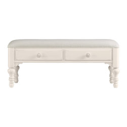 Stanley Furniture - Coastal Living Cottage Bed End Bench - Shell Finish - When a settee is too much and a stool is too little, this cheery double-drawer bench fits the bill. Heavily padded upper seat makes soft work of lacing sneakers. Made to order in America.