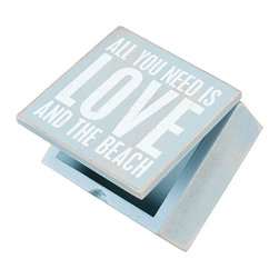 Primitives by Kathy - 'All You Need Is Love And The Beach' Wall Art - Enjoy the beach but skip the sand. Perfect for a seaside home, this well-spoken wood sign can be hung on the wall or set free-standing on a shelf or mantle for eloquence anywhere.   4'' W x 4'' H x 2.75'' D Wood Saw-tooth hanger Imported