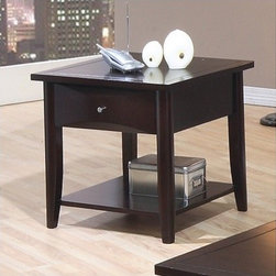 Wildon Home � - Calimesa End Table - Features: -Calimesa End Table.-Contemporary style.-Chambered drawer fronts, clean lines, shaped legs.-One spacious storage drawer, one lower shelf.-Simple metal knobs.-Smooth tops with straight edges.-Available in deep dark Cappuccino finish and warm medium Walnut finish.-Constructed of hardwood solids and maple veneers.-Collection: Calimesa.-Distressed: No.Dimensions: -Overall Product Weight: 48.25 lbs.