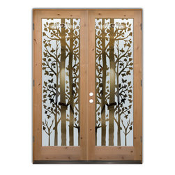 Sans Soucie Art Glass (door frame material T.M. Cobb) - Glass Front Entry Door Sans Soucie Art Glass Forest Trees - Sans Soucie Art Glass Front Door with Sandblast Etched Glass Design. Get the privacy you need without blocking light, thru beautiful works of etched glass art by Sans Soucie!  This glass is semi-private.  (Photo is view from outside the home or building.)  Door material will be unfinished, ready for paint or stain.  Bronze Sill, Sweep and Hinges. Available in other finishes, sizes, swing directions and door materials.  Dual Pane Tempered Safety Glass.  Cleaning is the same as regular clear glass. Use glass cleaner and a soft cloth.