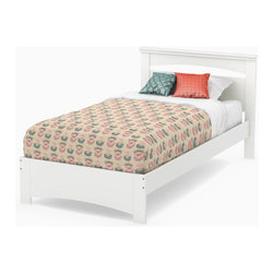 South Shore - 79 in. Twin Set in White - Includes: Twin headboard, footboard and 39 in. bed frame. Mattress and accessories not included. Laminated particle boards. Economic choice since it does not require the use of a box spring. Decorative grooves on the panel at the end of the bed to resemble legs. Weight capacity: 250 lbs.. Warranty: Five years limited. Made in Canada. Assembly required. 79 in. W x 44 in. D x 36.25 in. H (108 lbs.). Assembly InstructionsSafety is an integrated part of our values: this product meets or exceeds all North American safety standards.