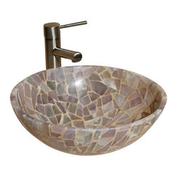 """The Allstone Group - L-VMR-R-16L Polished #1 Vessel Sink - Natural stone strikes a balance between beauty and function. Each design is hand-hewn from 100% natural stone.  Allstone mosaic vessel sinks are our only product that is not carved from one single piece of stone.  Onyx was used in Egypt as early as the Second Dynasty to make bowls and other pottery items. Onyx is also mentioned in the Bible at various points, such as in Genesis 2:12 """"and the gold of that land is good: there is bdellium and the onyx stone"""", and such as the priests' garments and the foundation of the city of Heaven in Revelation."""