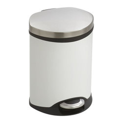 Safco - Step-On Medical - 1.5 Gallon - White - Make a smooth impression with the Step-On Medical Receptacle. This hands free receptacle has a unique shape allowing it to fit into room corners to help save on valuable space and is fingerprint proof, ensuring it will always look its best. The receptacle features a rigid plastic liner with built-in bag retainer and the lid closes slowly to prevent slamming of the lid and for a more quiet close. Available in Steel, Red or White.