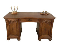 Desks - French Art Deco Desk, Oak Wood, Beautifully Carved Doors, Carvings on Legs, 2 Pull Out Drawers, Plenty of Storage Space, Circa 1920.