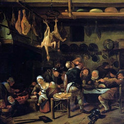 """Jan Steen The Fat Kitchen - 18"""" x 24"""" Premium Archival Print - 18"""" x 24"""" Jan Steen The Fat Kitchen premium archival print reproduced to meet museum quality standards. Our museum quality archival prints are produced using high-precision print technology for a more accurate reproduction printed on high quality, heavyweight matte presentation paper with fade-resistant, archival inks. Our progressive business model allows us to offer works of art to you at the best wholesale pricing, significantly less than art gallery prices, affordable to all. This line of artwork is produced with extra white border space (if you choose to have it framed, for your framer to work with to frame properly or utilize a larger mat and/or frame).  We present a comprehensive collection of exceptional art reproductions byJan Steen."""