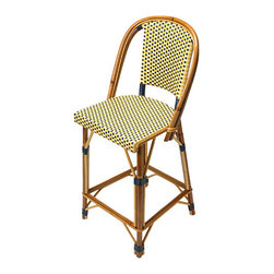 Alma French Cafe Stool - Bring Parisian cafe charm to your kitchen with these woven cafe chair-inspired stools. They add color, texture, and natural materials to any room you place them in. Many color combinations are available.